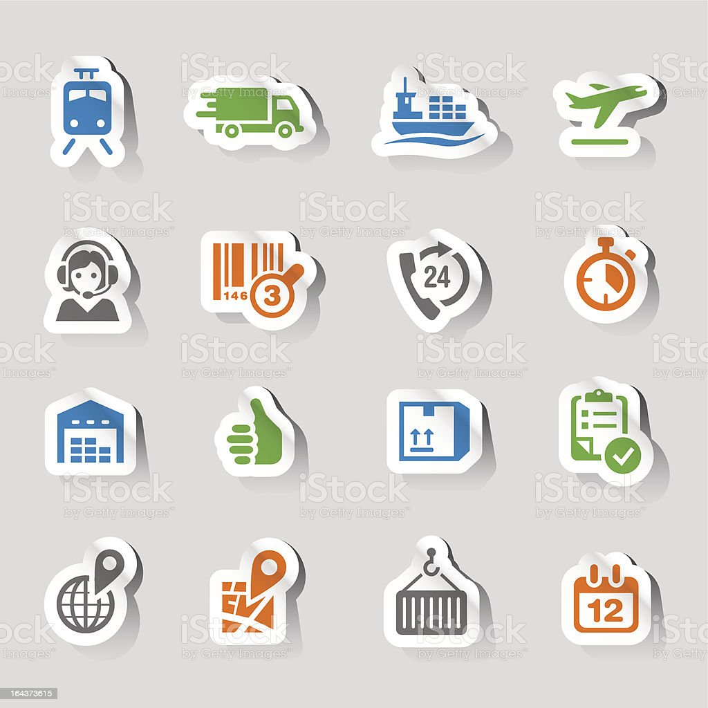A set of colorful shipping and logistics icons with shadows vector art illustration