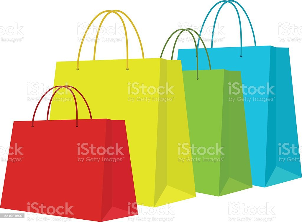 Set of Colorful Shopping Bags Isolated in White vector art illustration