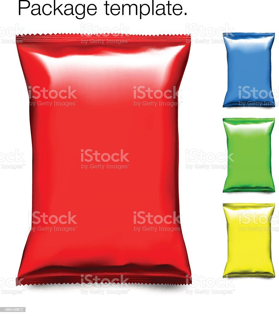 Set of colorful snack  bag isolated on white background vector art illustration