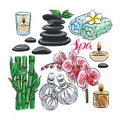set of colorful spa accessories