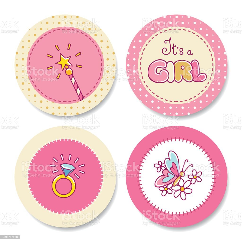 Set of colorful stickers for girl's birthday vector art illustration
