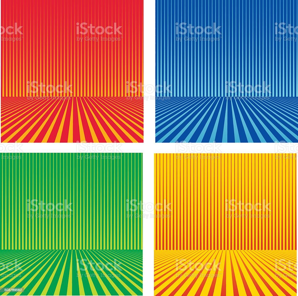 Set of Colorful Striped Halftone Pattern With Dynamic Perspective vector art illustration