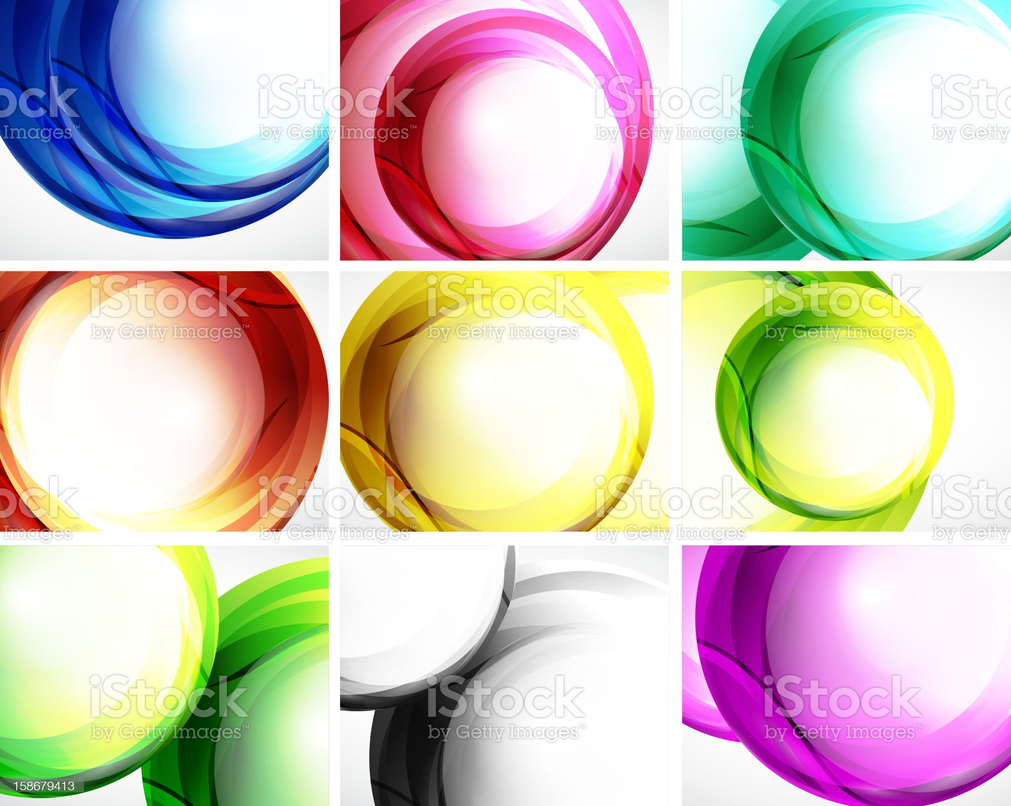Set of colorful swirl backgrounds royalty-free stock vector art