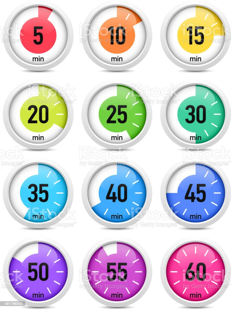 Set of colorful timers vector art illustration