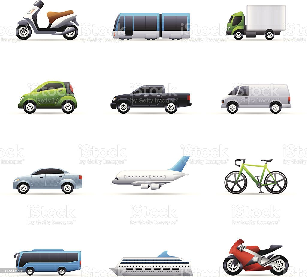 Set of colorful transportation icons vector art illustration