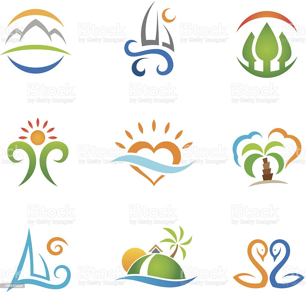 Set of colorful travel and paradise vector icons royalty-free stock vector art