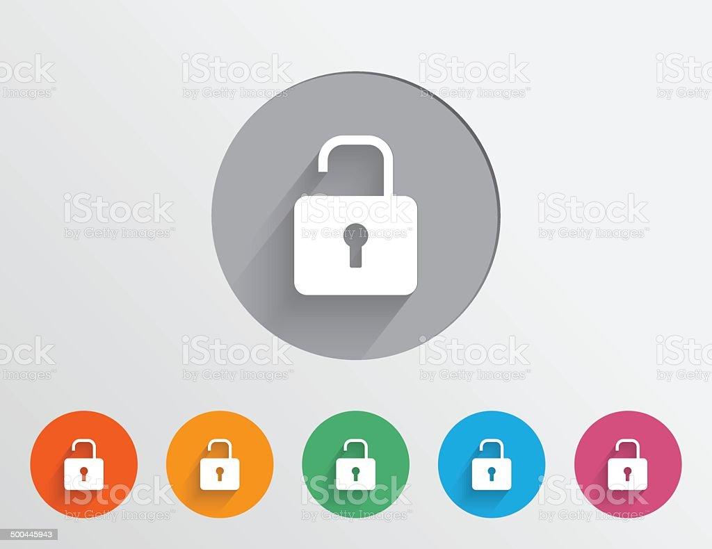 Set of colorful unlock icons vector art illustration