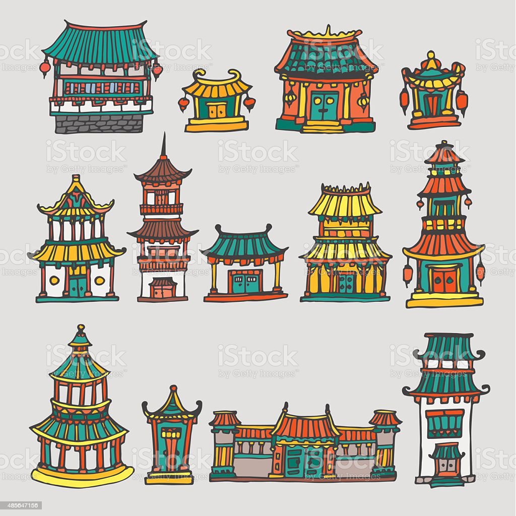 Set of colorful vector asian temples and manor houses vector art illustration