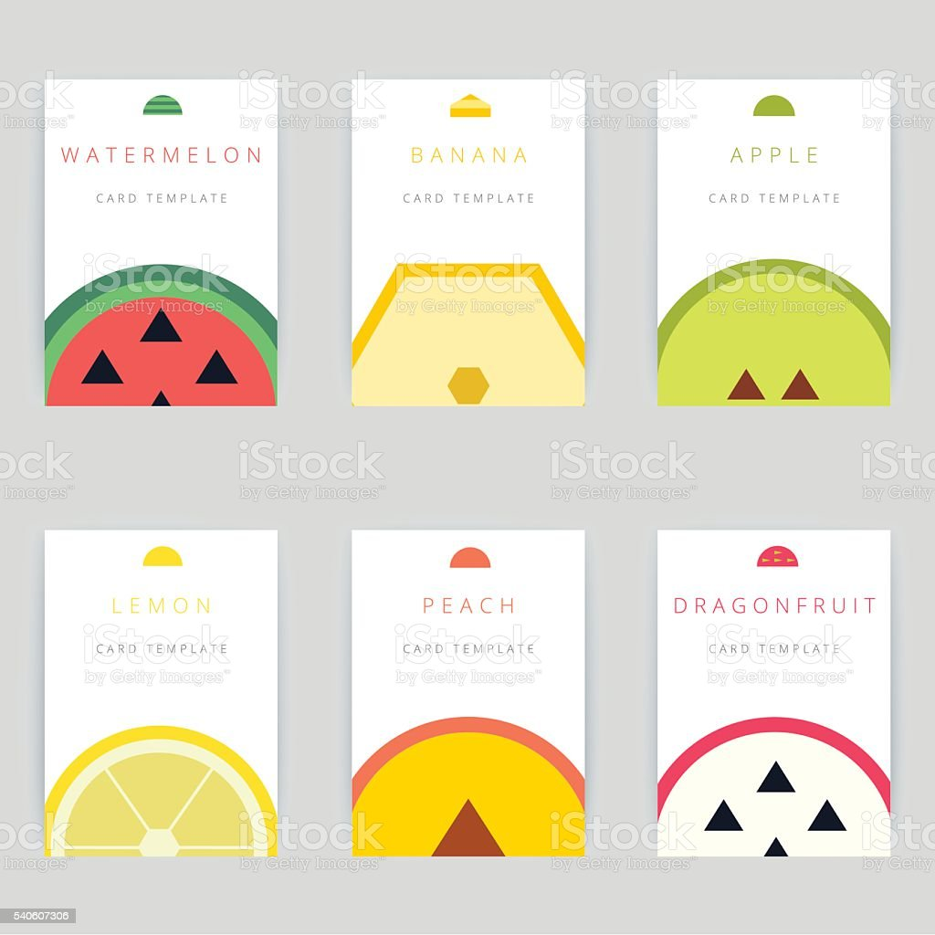 Set of colorful vector greeting card design with fruits vector art illustration