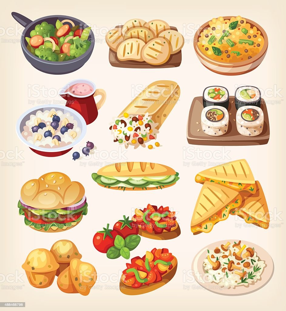 Set of colorful vegetarian food. vector art illustration