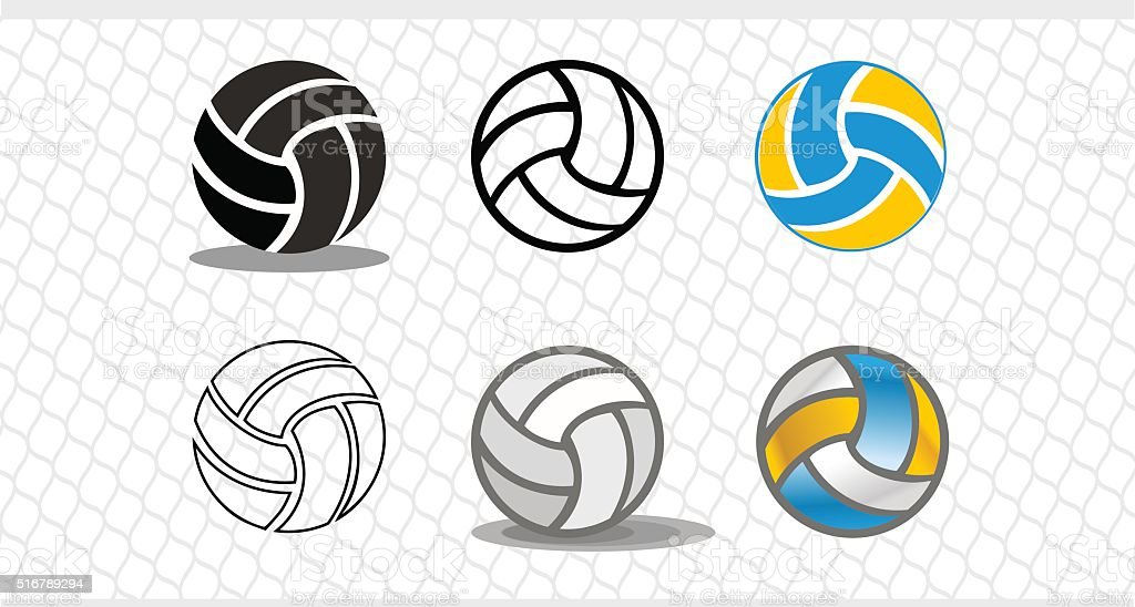 Set of colorful volleyballs. The logo is a ball vector art illustration