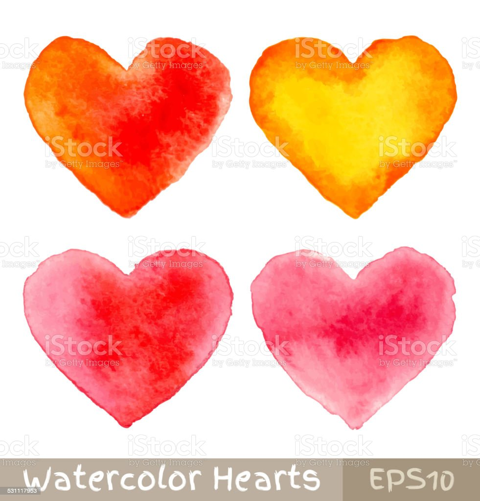 Set of Colorful Watercolor Hearts vector art illustration