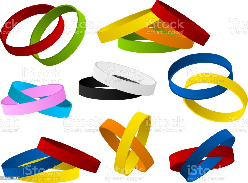 Set of colorful wristband vector art illustration