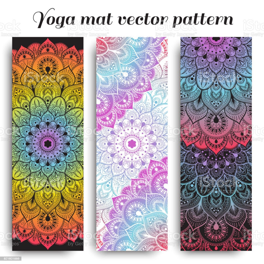 Set of colorful yoga mat vector pattern vector art illustration