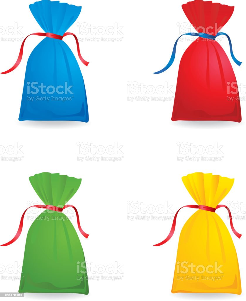 Set of colour sacks vector art illustration