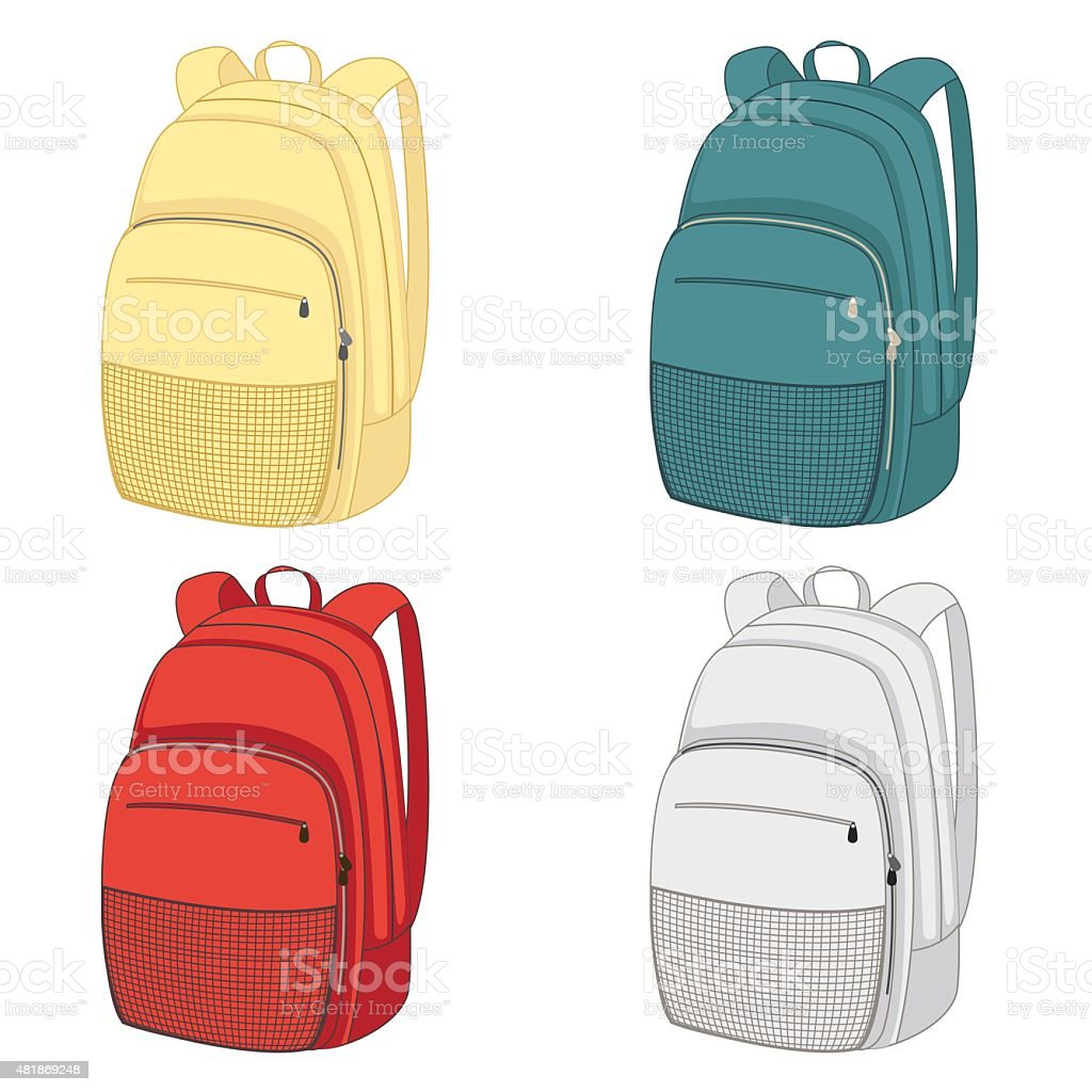 Set of colourful backpacks with zippers and pockets vector art illustration