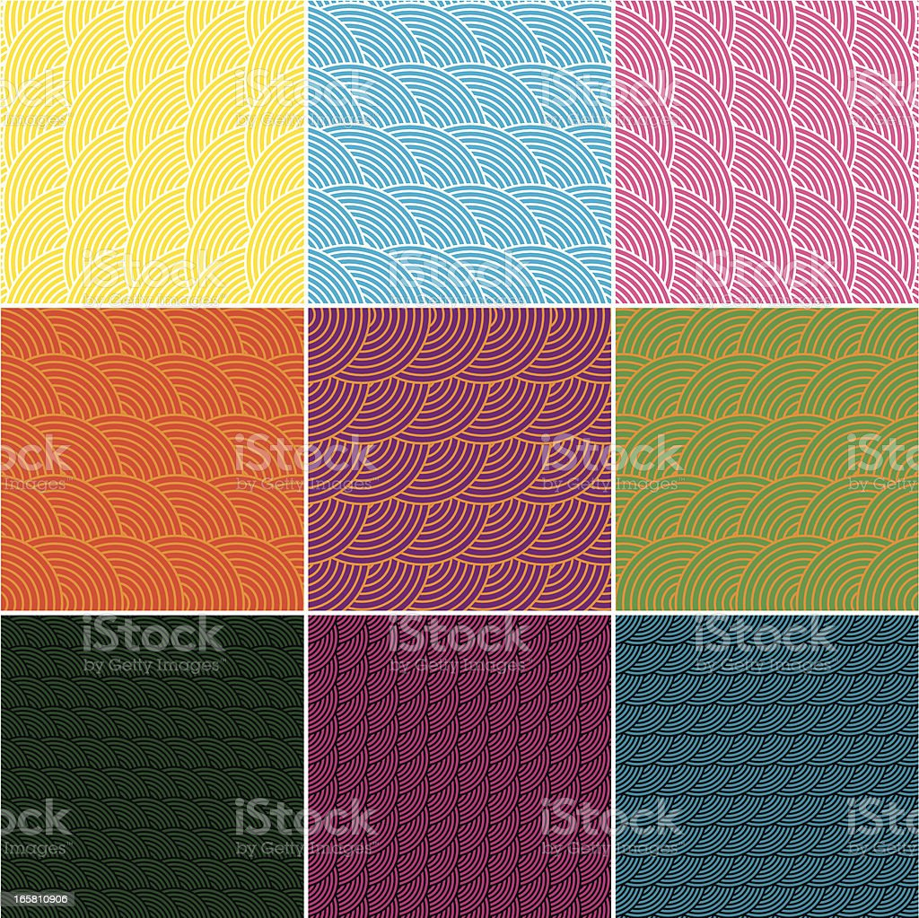 Set of Colourful Geometric Seamless Patterns royalty-free stock vector art