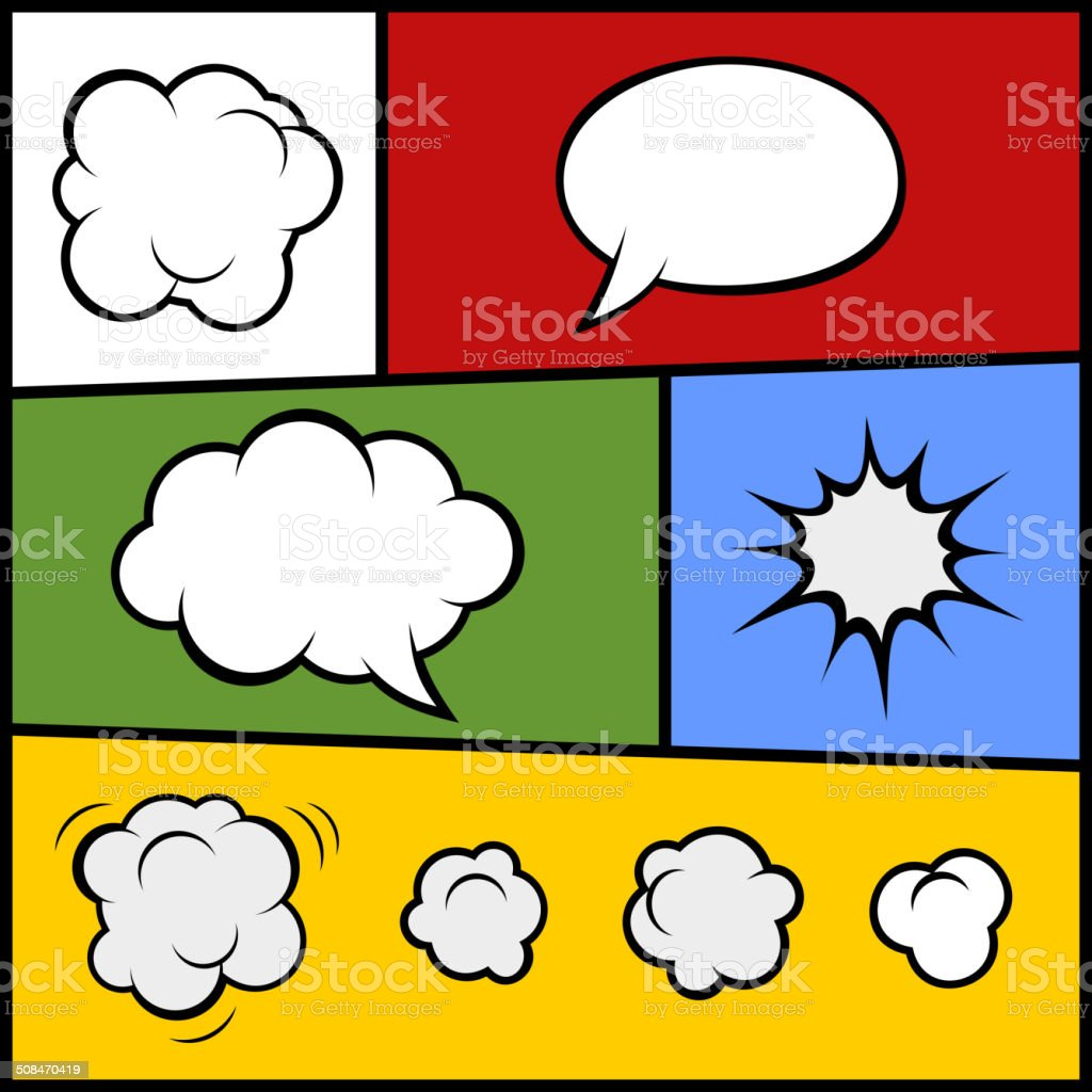Set of Comic Bubbles and Elements. Vector royalty-free stock vector art