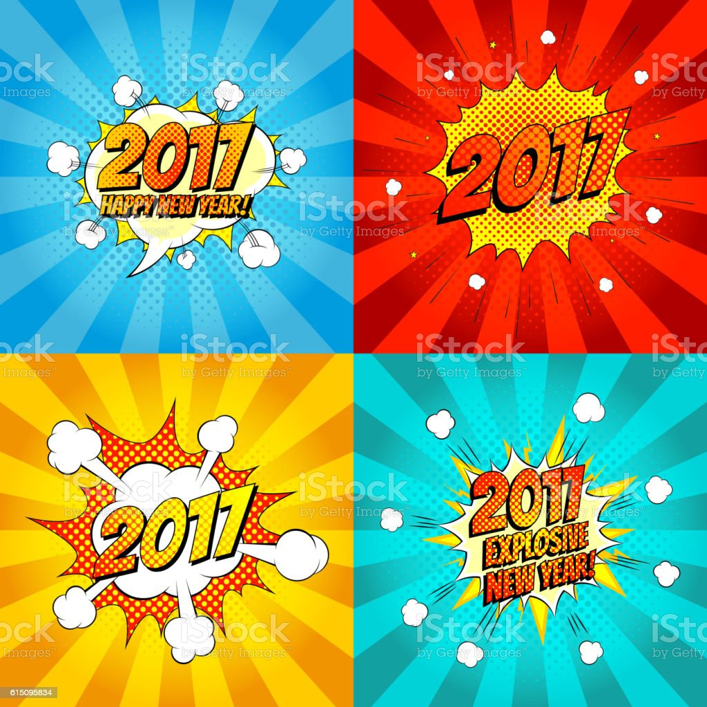 Set of comic happy new year banners royalty-free stock vector art