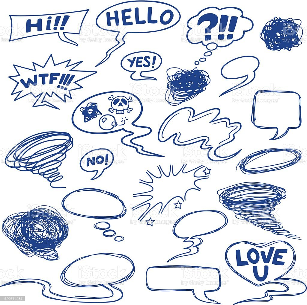 Set of comic speech bubbles, shapes and icons. vector art illustration