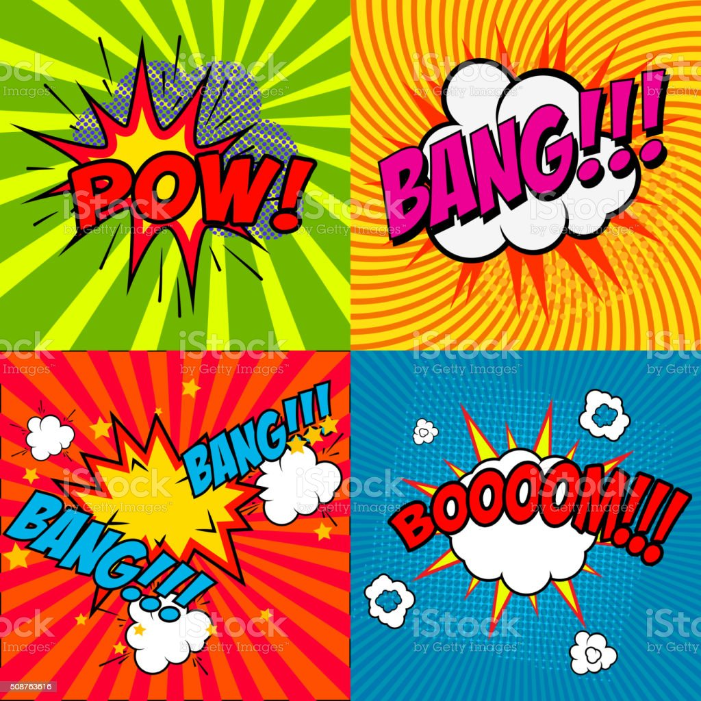 Set of comic style phrases vector art illustration