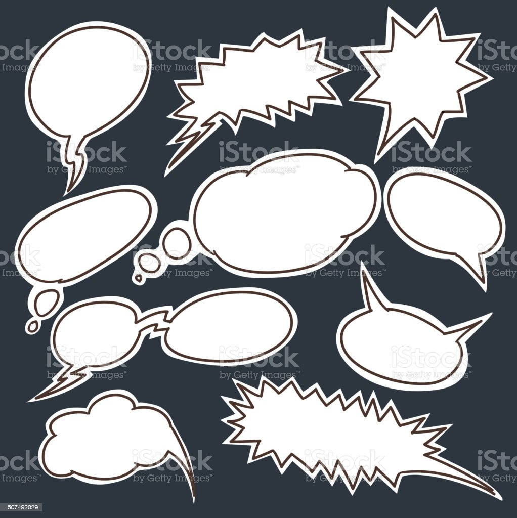 Set of comic style talk clouds royalty-free stock vector art