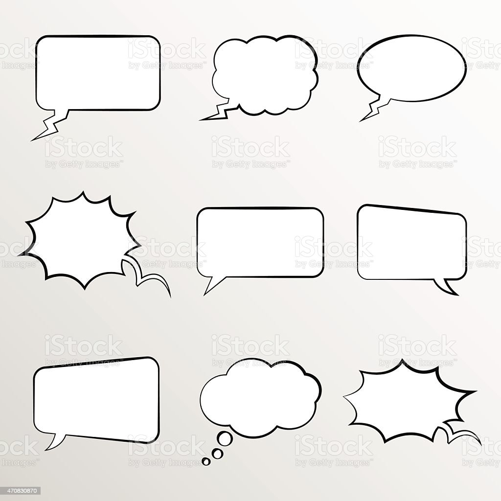 Set of comic style thought bubbles vector art illustration