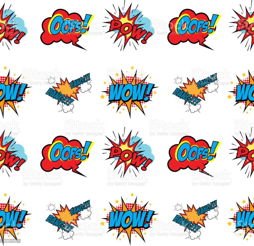 Set of Comic Text, Pop Art style seamless pattern vector art illustration