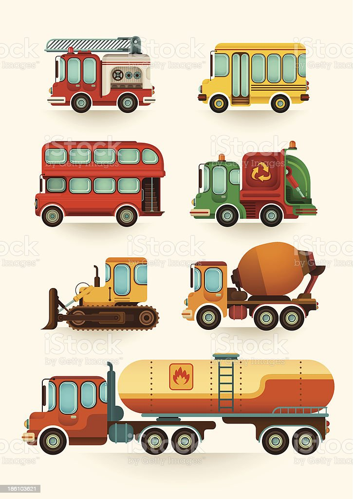Set of comic vehicles. vector art illustration