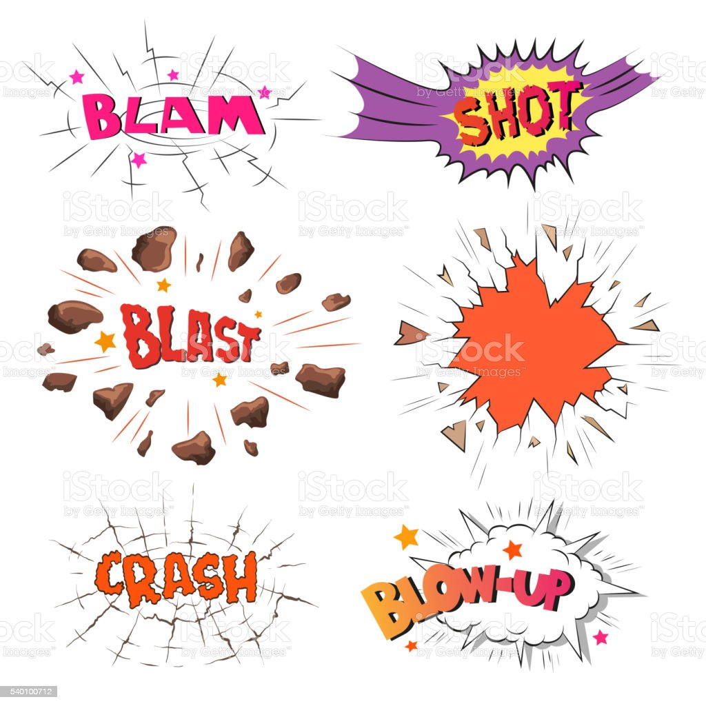 Set of comics boom. Hand drawn vector illustration vector art illustration