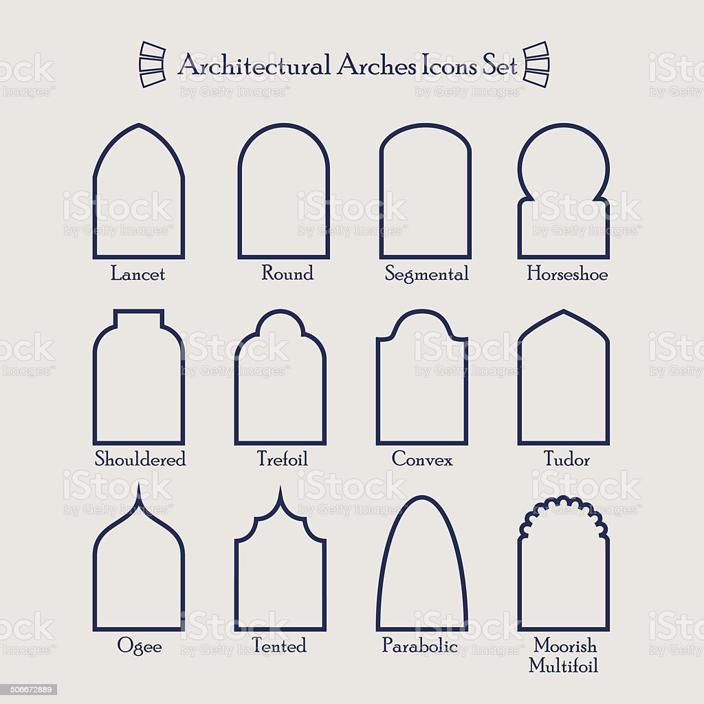 Set of common types of architectural arches frame icons vector art illustration