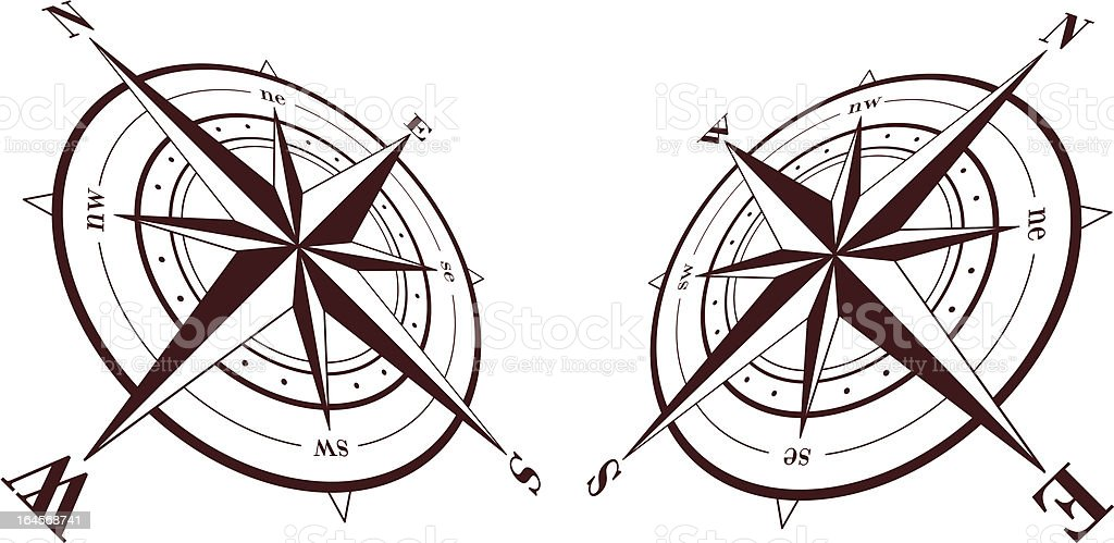 Set of compass roses isolated on white background. Vector illustration royalty-free stock vector art