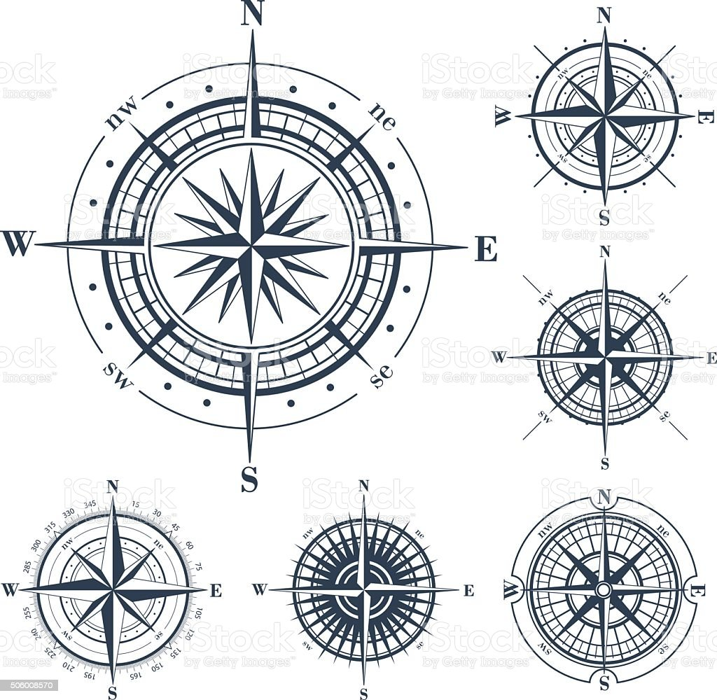 Set of compass roses isolated on white vector art illustration