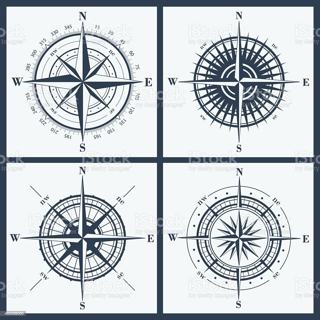 Set of compass roses or windroses vector art illustration