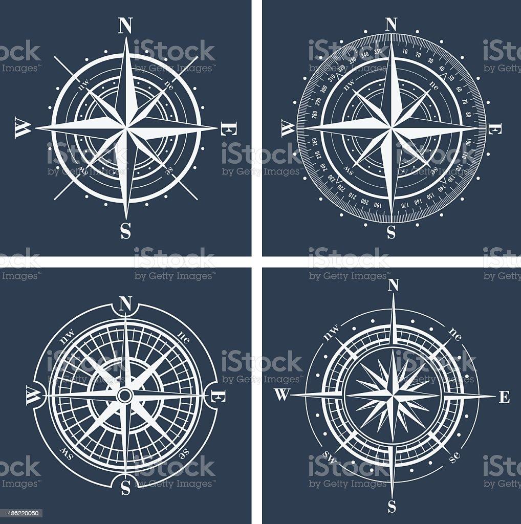 Set of compass roses. Vector illustration. vector art illustration