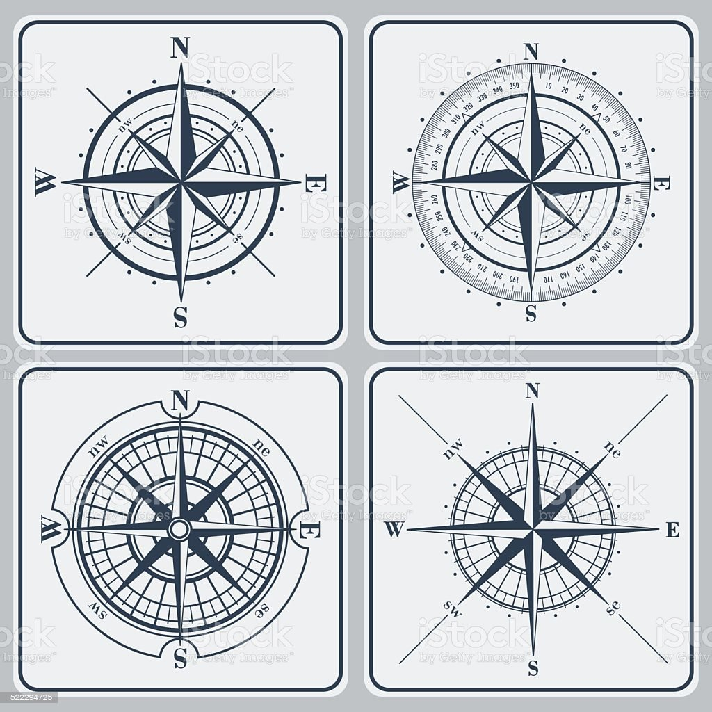 Set of compass roses (windroses) . Vector illustration. vector art illustration