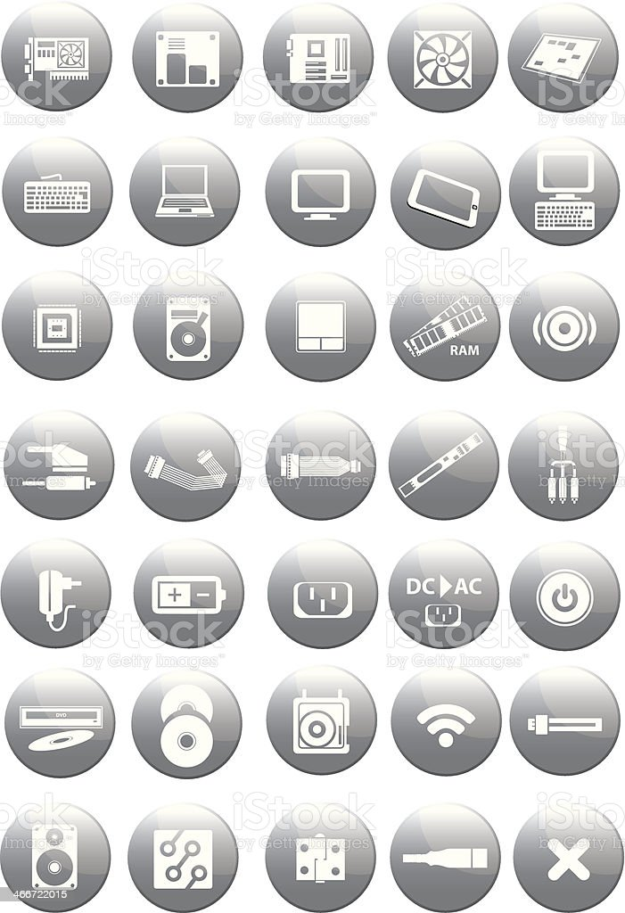 Set of computer and accessories icon royalty-free stock vector art