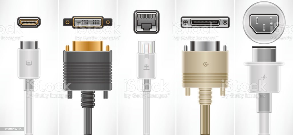 A set of computer cables and plugs vector art illustration