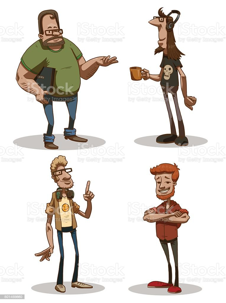 Set of computer geeks vector art illustration