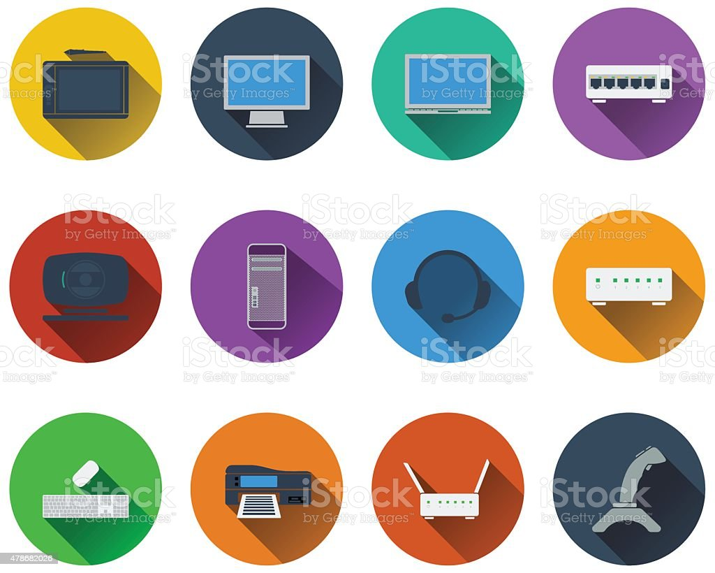 Set of computer icons vector art illustration