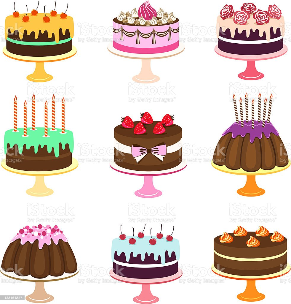 Set of computer images of various styles of cake vector art illustration