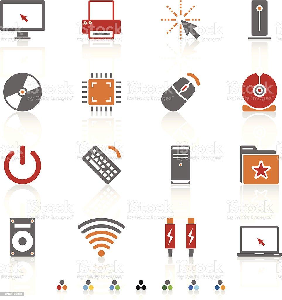 Set of computer technology icons vector art illustration