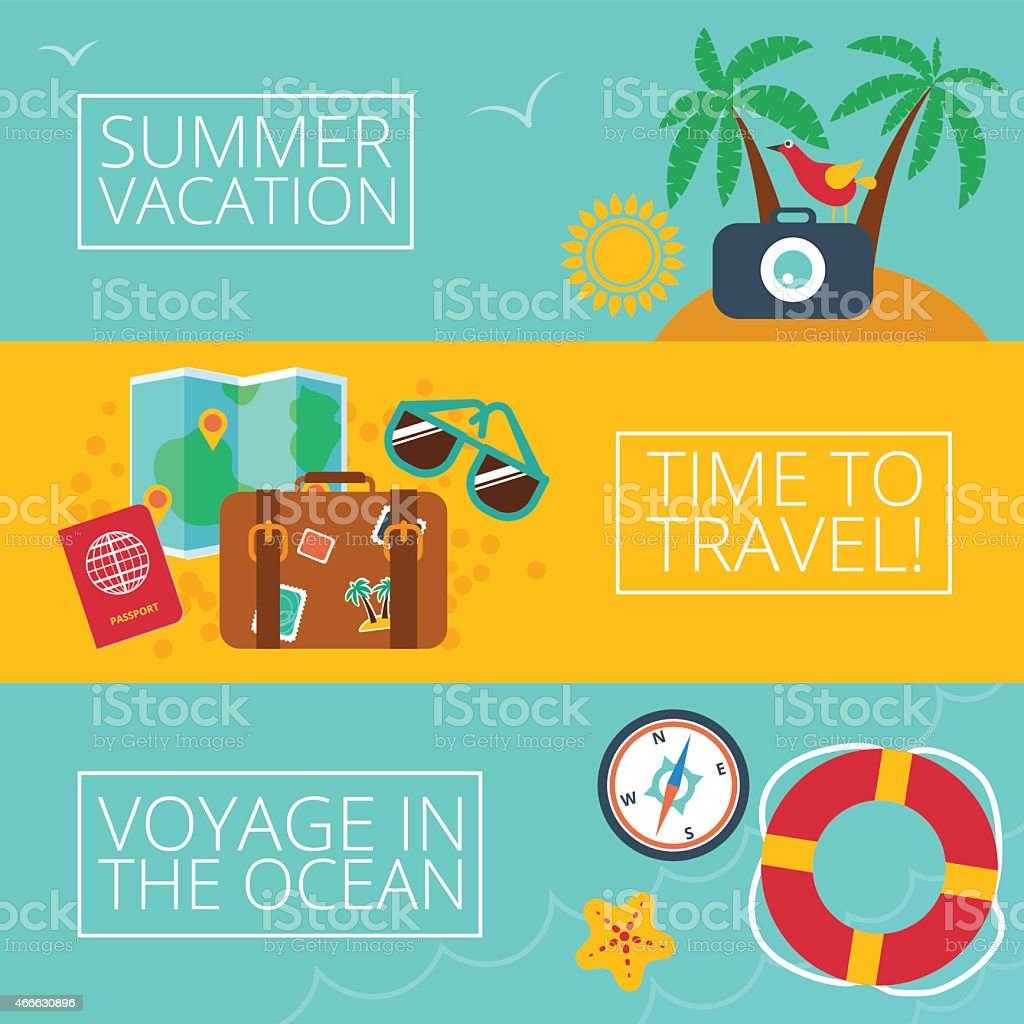 Set of concepts and banners  of travel, summer, flat style vector art illustration