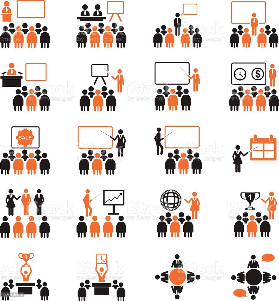 A set of conference related icons vector art illustration