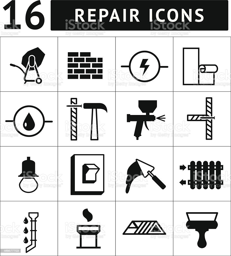 Set of construction, building, and house repair icons vector art illustration