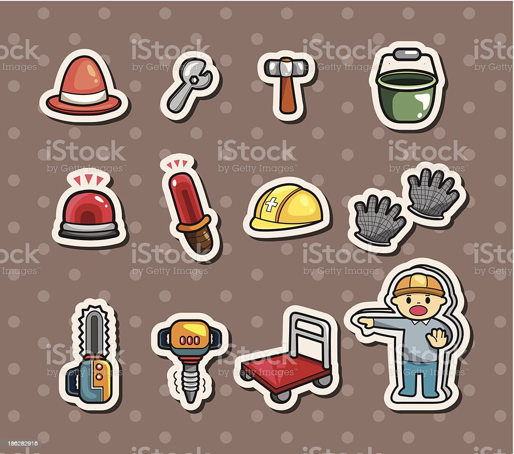 Set of construction stickers royalty-free stock vector art