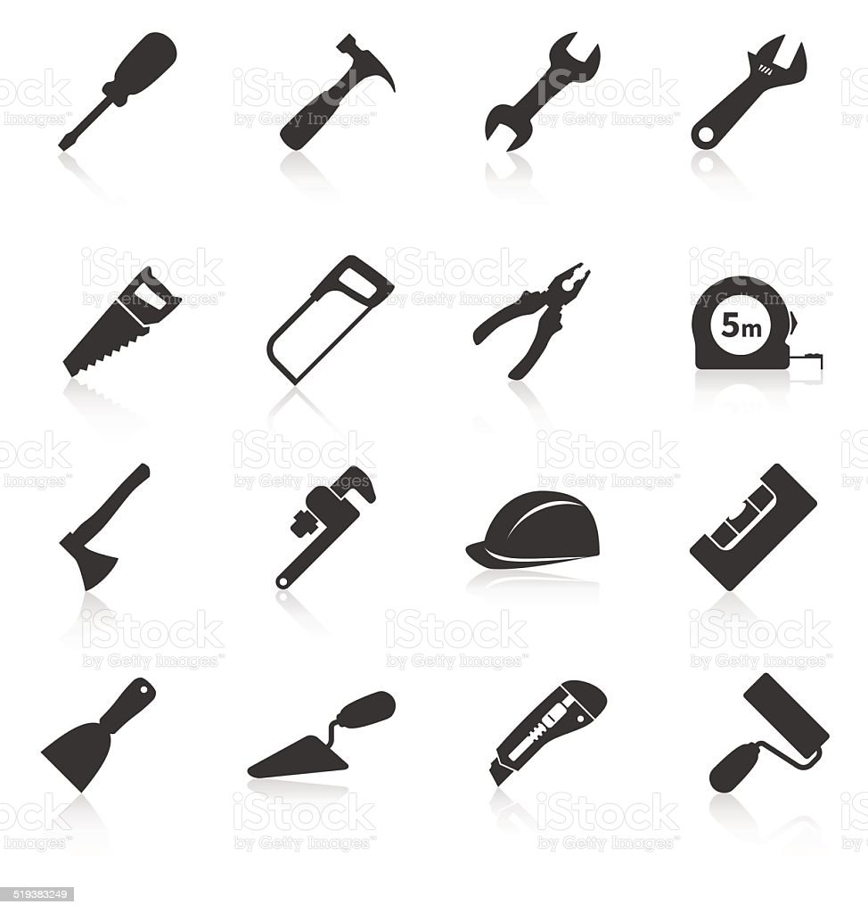 Set of construction tools icons vector art illustration