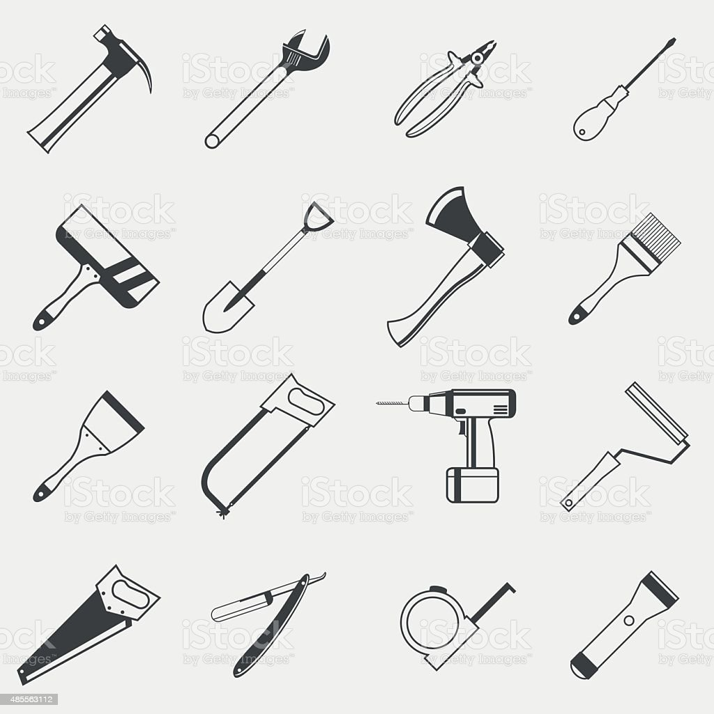 Set of construction tools monochrome icons on white background vector art illustration