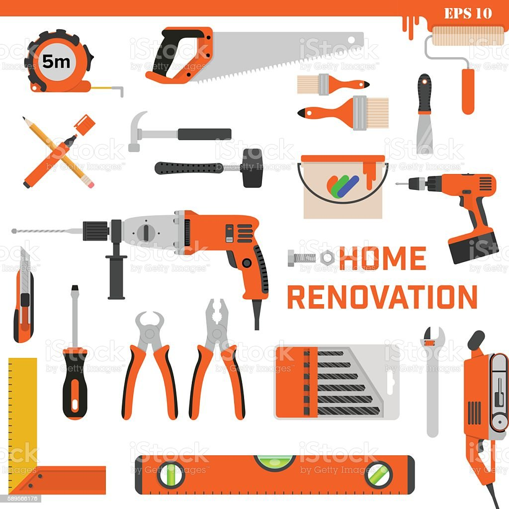 Set of construction tools on a white background. Vector concept vector art illustration