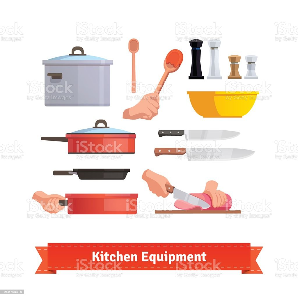 Set of cooking equipment vector art illustration